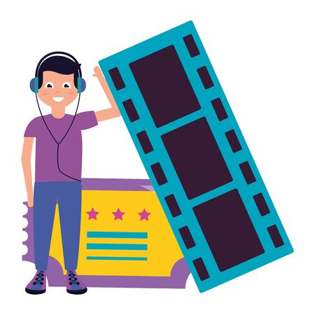 man with headphones and ticket cinema vector illustration