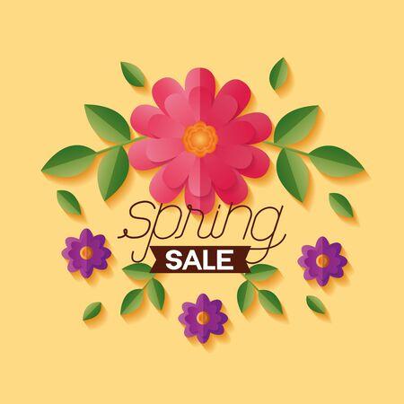 flowers spring sale banner vector illustration design