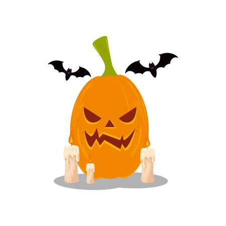 halloween pumpkin with bats flying and candles vector illustration design Illustration