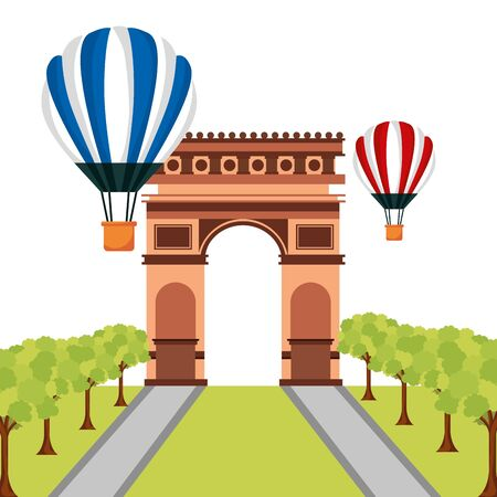 france arch triumph air balloons happy bastille day flat design vector illustration