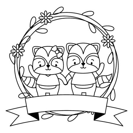 cute couple raccoon animals wreath flowers vector illustration
