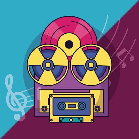 reel tape recorder vinyl cassette festival music poster vector illustration