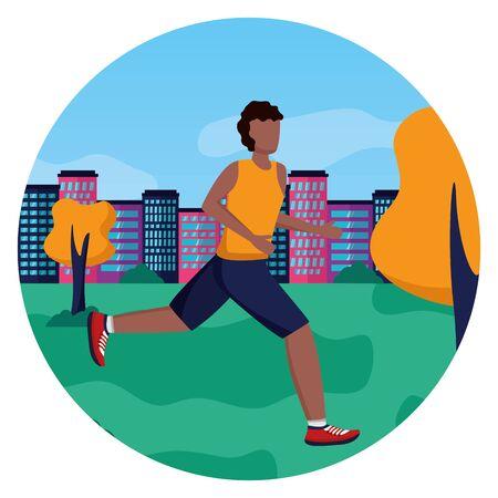 Hombre practicando actividad de carrera en la ilustración de vector de parque