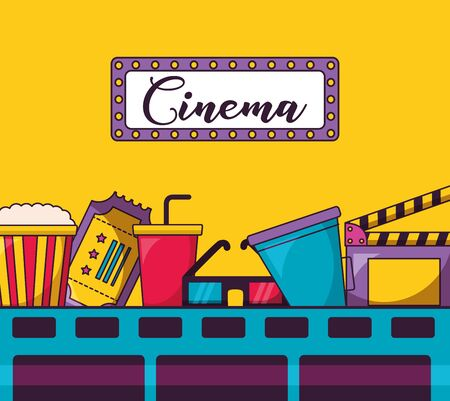 signboard soda ticket 3d glasses clapboard cinema movie vector illustration Illustration