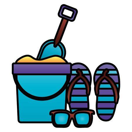 summer time holiday bucket shovel flip flops sunglasses  vector illustration Иллюстрация