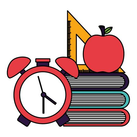 books clock triangle ruler apple back to school vector illustration Иллюстрация