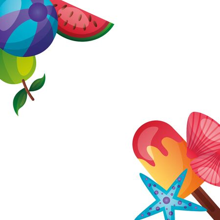 summer time holiday shell starfish lemon corner white background vector illustration Ilustração