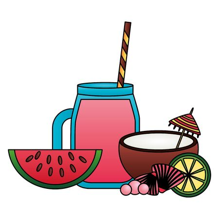 summer time holiday juice coconut watermelon lime vector illustration Banque d'images - 130369648