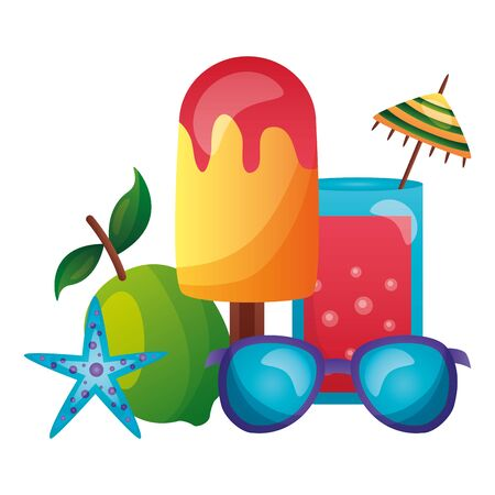 summer time holiday cocktail lemon starfish sunglasses vector illustration 일러스트