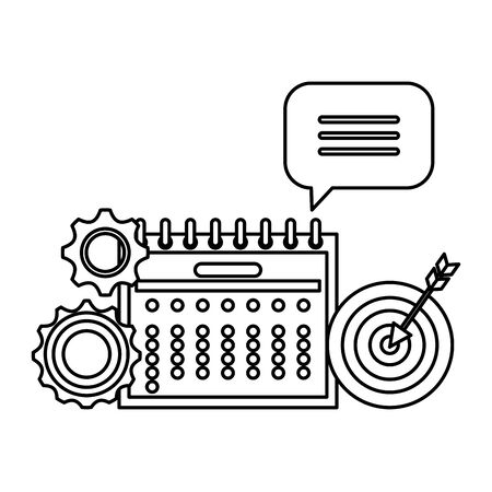 calendar date reminder with gears and target vector illustration design