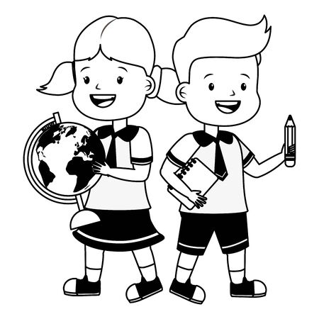 boy and girl student with map and book back to school vector illustration