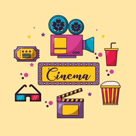 billboard projector 3d glasses ticket soda cinema movie vector illustration