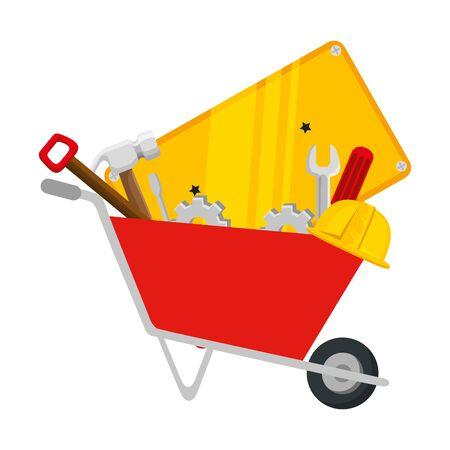 wheelbarrow construction with tools equipment vector illustration design