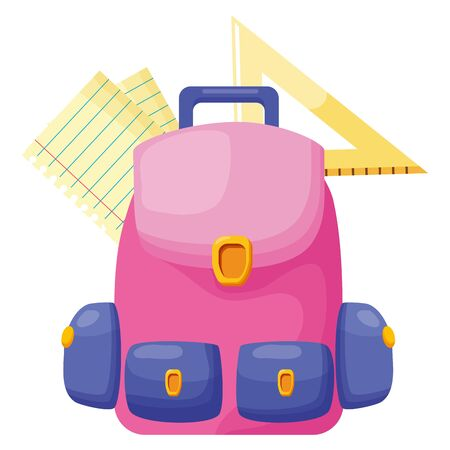 backpack triangle ruler paper back to school vector illustration