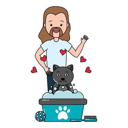 man pet grooming hygiene care vector illustration