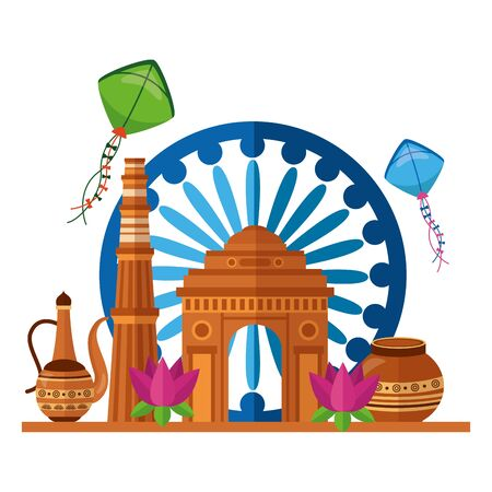 indian gateway and independence day icons vector illustration design