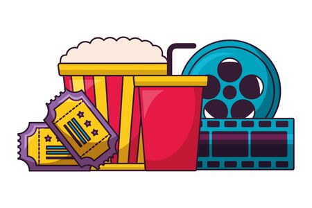 pop corn reel soda cinema movie vector illustration Illustration