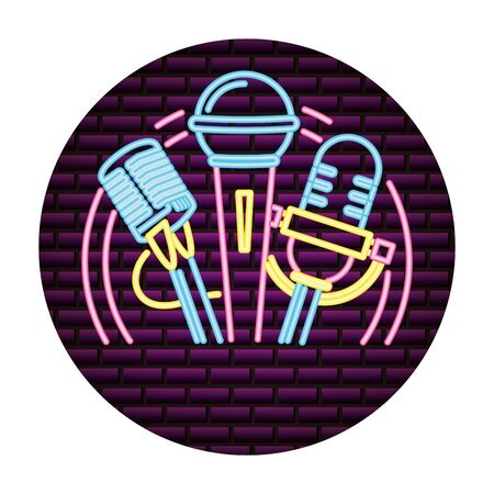 microphone sound retro neon style vector illustration