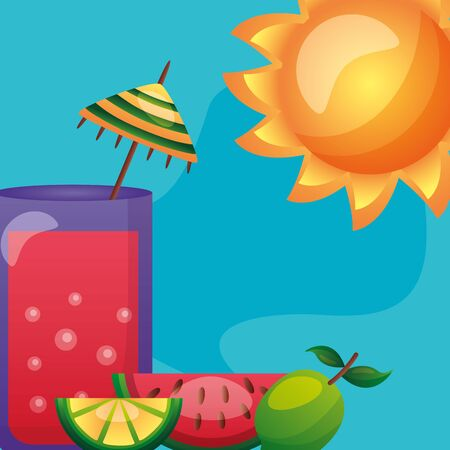 summer time holiday cocktail watermelon lime sun vector illustration