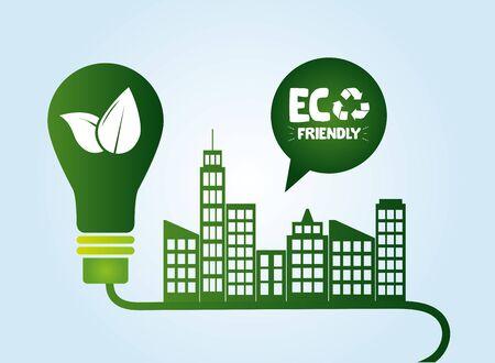 city energy light bulb eco friendly vector illustration Ilustração