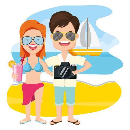 summer time couple with camera beach vector illustration Stockfoto - 130386879