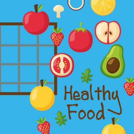 Healthy and organic food design, Fresh natural market product quality and eco theme Vector illustration