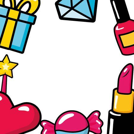 heart candy gift diamond nail polish lipstick pop art elements vector illustration
