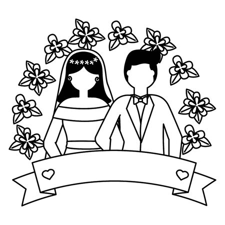 bride and groom love flowers wedding vector illustration Archivio Fotografico - 130387003