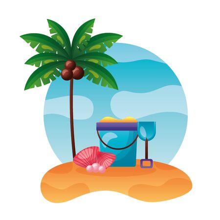 summer time holiday beach bucket sand shovel shell palm tree vector illustration Foto de archivo - 130386998