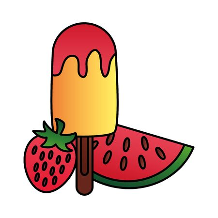 summer time holiday ice cream watermelon and strawberry vector illustration