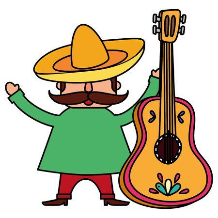 Mariachi tradicional mexicano con guitarra, diseño de ilustraciones vectoriales Ilustración de vector