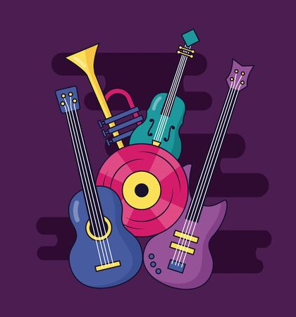 electric and classical guitar fiddle vinyl music vector illustration Иллюстрация
