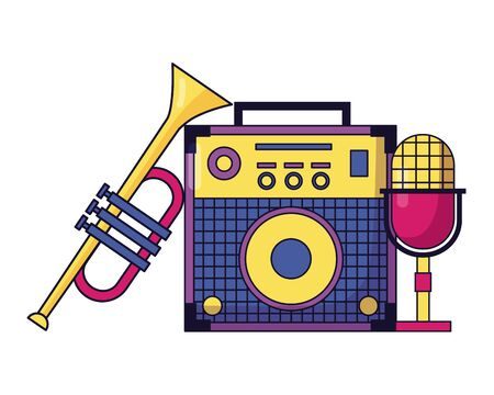 sound amplifier microphone trumpet instrument and equipment festival music vector illustration Stockfoto - 130387097