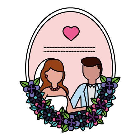 bride and groom love flowers wedding vector illustration