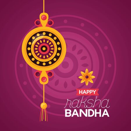 happy raksha bandhan rakhi sacred celebration vector illustration Ilustrace