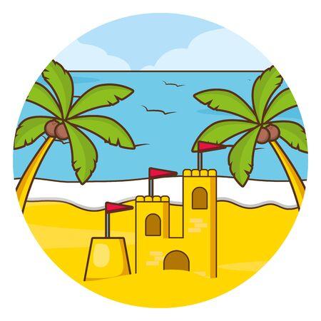 vacations beach palm sea sand castle vector illustration