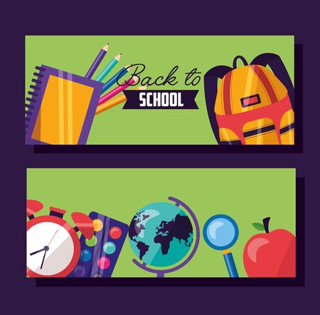 back to school bag supplies pencils clock apple vector illustration