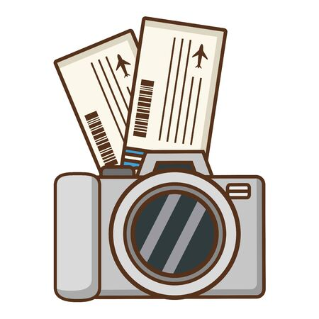 beach vacations camera and tickets  vector illustration