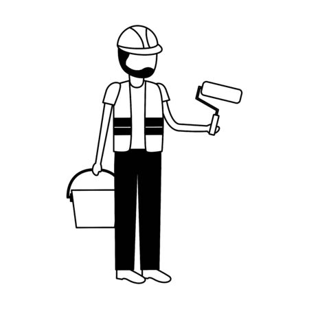 worker construction tool roller bucket vector illustration design Ilustração