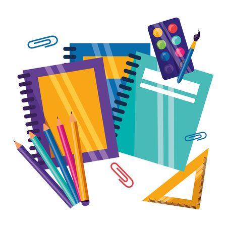 notebooks triangle ruler pencils clips back to school vector illustration Ilustração