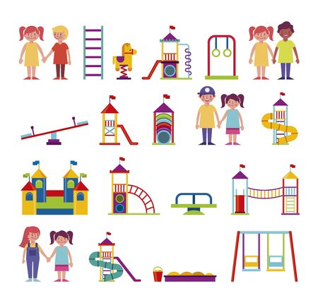 group of kids and amusement park bundle characters vector illustration design Stock Illustratie