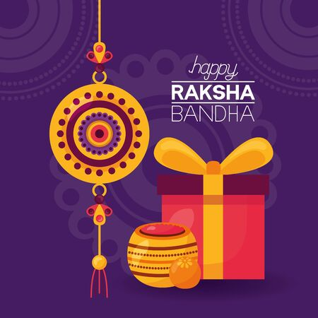 happy raksha bandhan rakhi gift candle vector illustration  イラスト・ベクター素材