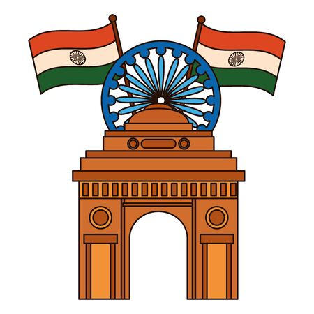 indian flags with ashoka chakra and gate building vector illustration design