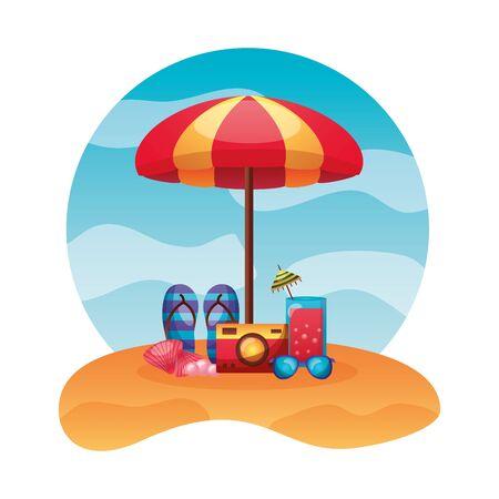 summer time holiday beach umbrella sandals camera sunglasses cocktail shell vector illustration Illustration