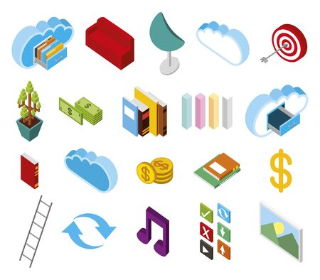 bundle of data center storage isometric set icons vector illustration design