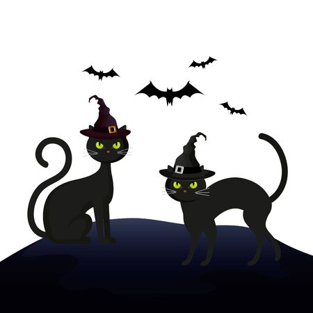 cats feline halloween with hat witch and bats flying vector illustration design