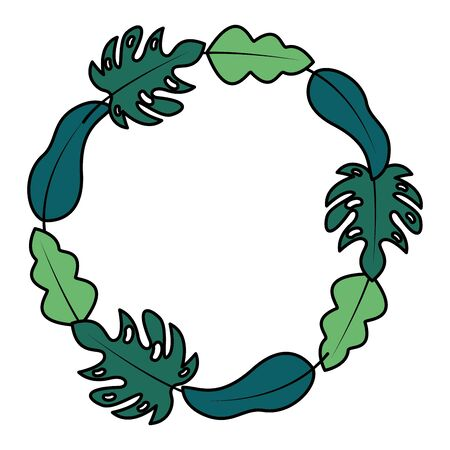 wreath leaves foliage natural white background decoration vector illustration  イラスト・ベクター素材