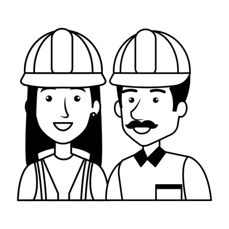 couple of builders constructors characters vector illustration design 矢量图像