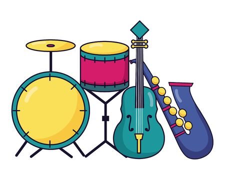 drums fiddle and saxophone instrument and equipment festival music vector illustration