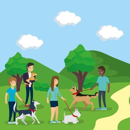 outdoor people owners with dogs in the park activity vector illustration